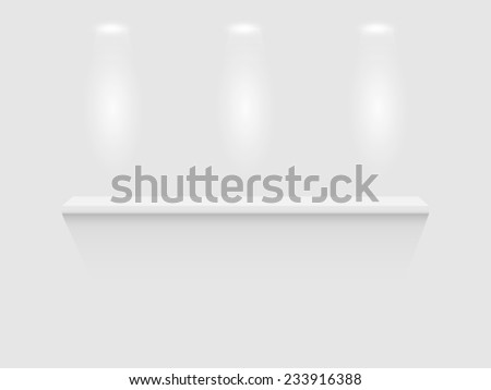 Illustration of a shelf isolated on a white wall background. - stock photo