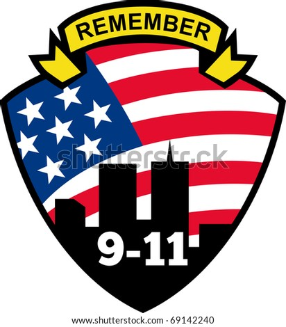 illustration of a shield with american flag stars and stripes and 9-11 World Trade Center building silhouette with words Remember 9-11 - stock photo