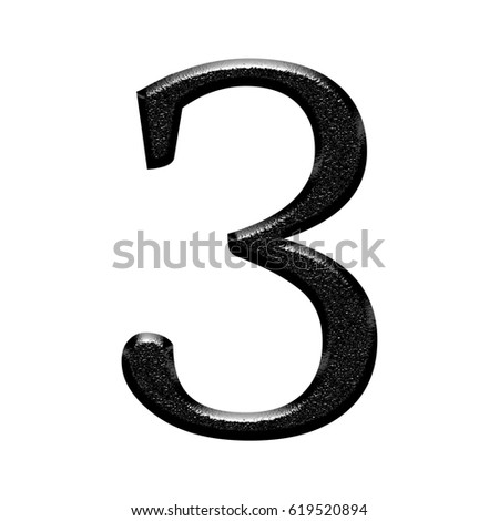 Illustration of a shiny chiseled black metal or stone number three 3 with a rough metallic textured effect isolated on a white background