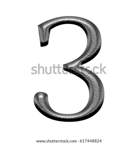 Illustration of a shiny metallic chiseled silver number three 3 with a hammered metal effect isolated on a white background with clipping path.