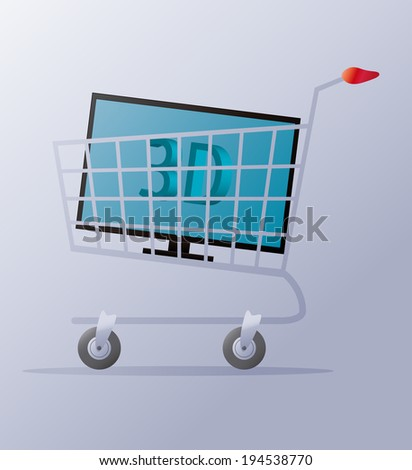 illustration of a shopping cart with a 3d tv in