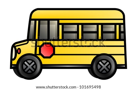 Illustration of a short cartoon school bus. Raster.