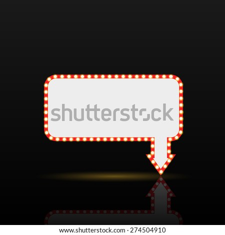 Illustration of a sign with lit bulbs against a dark background. - stock photo