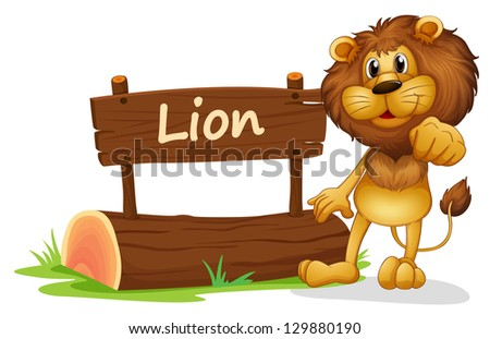 Illustration of a signboard with a lion on a white background