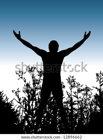 Illustration of a silhouetted man spreading his arms wide, standing among some plants.