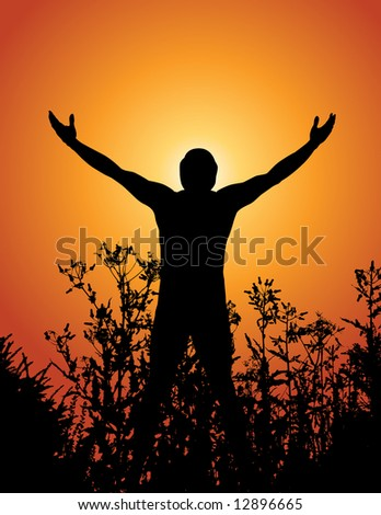 Illustration of a silhouetted man standing among some plants, the sun behind him.