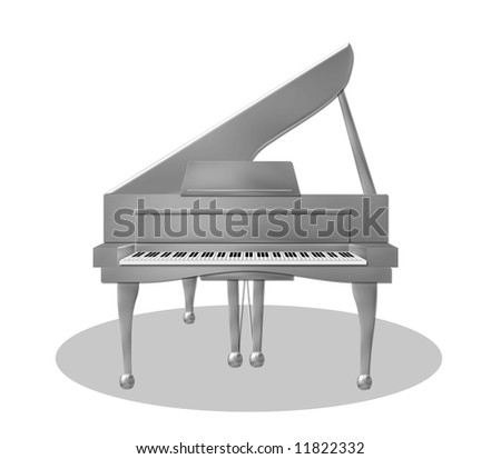 illustration of a silver piano