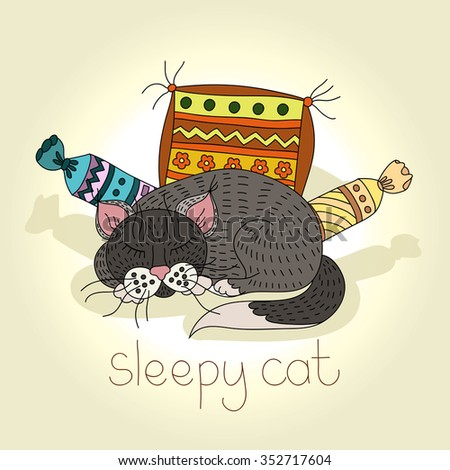 """Illustration of a """"sleeping cat"""". Hand drawing of a cute cat. Cat among the soft pillows. Postcard, poster, drawing. Housecat, pet. Stylish card. Cute cat. Illustration of Cat. Cute kitten sleeping.  - stock photo"""