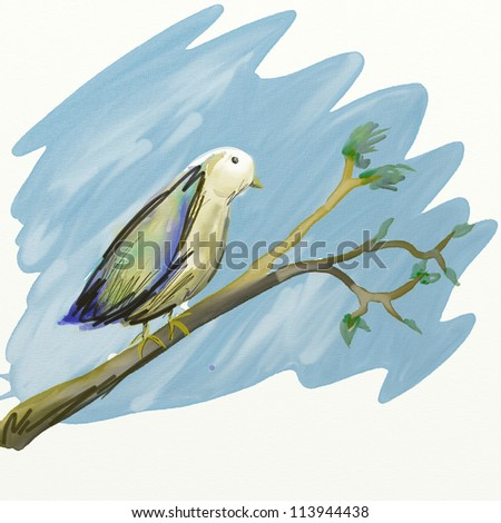 Illustration of a small watercolor bird on a tree branch