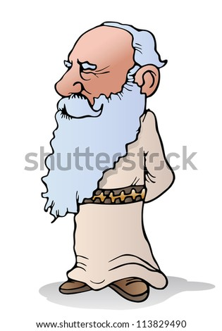 illustration of a  smart experienced wise Old  man on isolated white background - stock photo