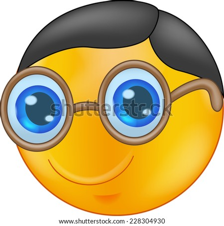 Illustration of a Smiley Wearing Glasses - stock photo