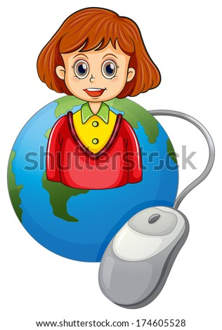 Illustration of a smiling lady above a globe with a mouse - stock photo
