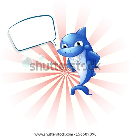 Illustration of a smiling shark with an empty callout on a white background  - stock photo