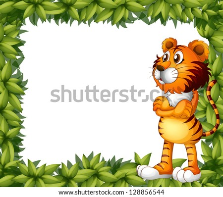 Illustration of a smiling tiger and plant frame on a white background
