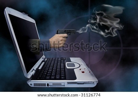 Illustration of a smoking gun coming out of a laptop - stock photo