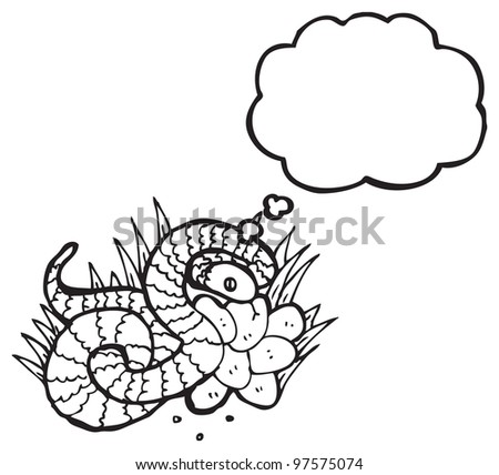 illustration of a snake on nest of eggs - stock photo