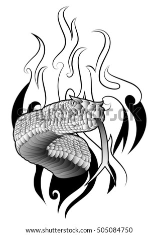 illustration of a snake tattoo on fire