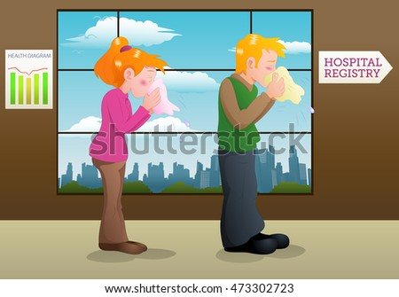 illustration of a sneezing woman and man sick on hospital hall background