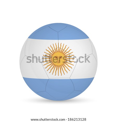 Illustration of a soccer ball with Argentina flag isolated on a white background.