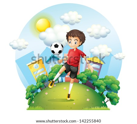 Illustration of a soccer player practicing near the high buildings on a white background