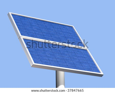 Illustration of a solar panel on a clear summer day - stock photo