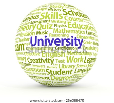 Illustration of a sphere containing many University related words - stock photo