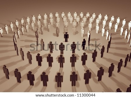 Illustration of a spiral of people surrounding an individual - stock photo