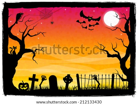 illustration of a spooky halloween background - stock photo