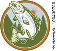 Illustration of a spotted speckled trout fish jumping set inside circle done in retro style. - stock photo