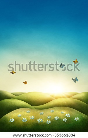 Illustration of a spring meadow - stock photo