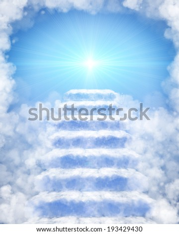 Illustration of a stairway made of clouds to heaven - stock photo