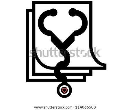 illustration of a stethoscope with a heart and a patient checkup chart - stock photo