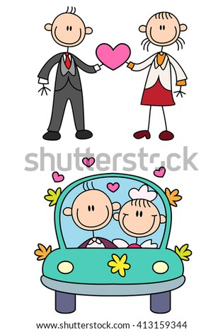illustration of a stick couple love story over a white background - stock photo