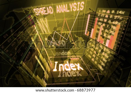 Illustration of a stock exchange background - stock photo