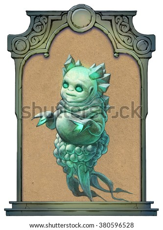Illustration of a strange green alien framed with a stone decorated hand drawn arch - stock photo
