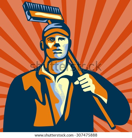 Illustration of a street cleaner worker holding a broom on shoulder viewed from front set inside square shape with sunburst in the background done in retro style.