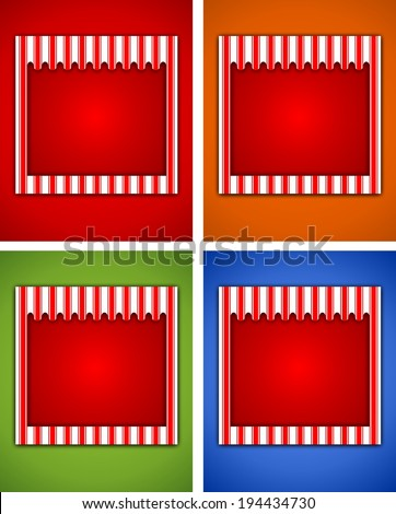 Illustration of a striped carnival sign stage background - stock photo