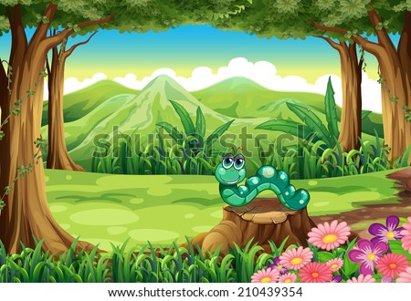 Illustration of a stump at the forest with a worm - stock photo