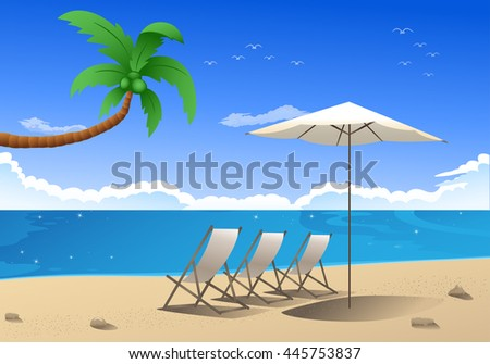 illustration of a summer paradise beach wallpaper