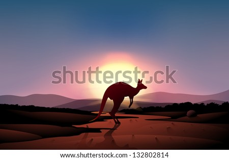 Illustration of a sunset at the desert with a kangaroo