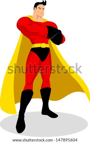 Illustration of a superhero in gallant pose - stock photo