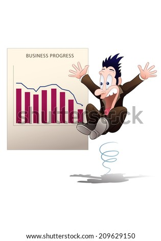 illustration of a surprised businessman in shirt shock watching down chart on isolated white background - stock photo