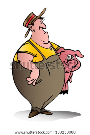 illustration of a swine breeder carry pink pig on isolated white background - stock photo