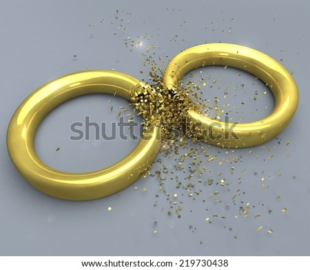 Illustration of a symbol for the end of a marriage: two golden rings exploding. - stock photo