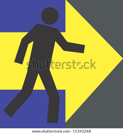 Illustration of a symbol of man standing in a direction