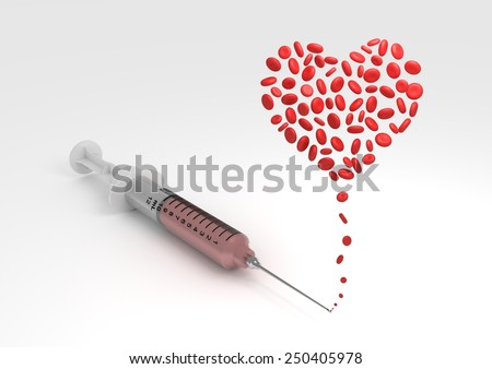 Illustration of a syringe with blood cells forming the shape of a heart - stock photo