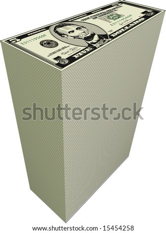 illustration of a tall stack of five dollar bills on white background.