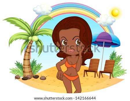 Illustration of a tan lady in an orange bikini at the beach on a white background