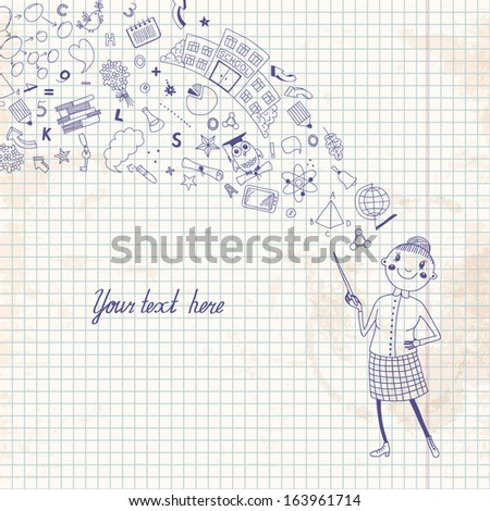 Illustration of a teacher in a cartoon style. Background symbolizing learning. - stock photo