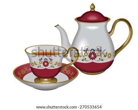 Illustration of a teapot and a teacup. / Red. / Tea, Herbal tea, Oolong tea. - stock photo